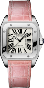 Cartier Santos 100 Replica Watches with Pink Strap for Women