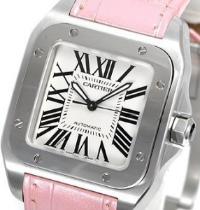 Cartier Santos 100 copy Watches with Pink Strap for Women
