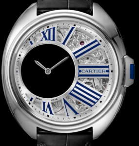 Men's Palladium Clé de Cartier Mysterious Hours Fake Watches