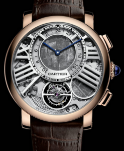 Functional Rotonde de Cartier Tourbillon Dual Time Moon Phase Fake Watches