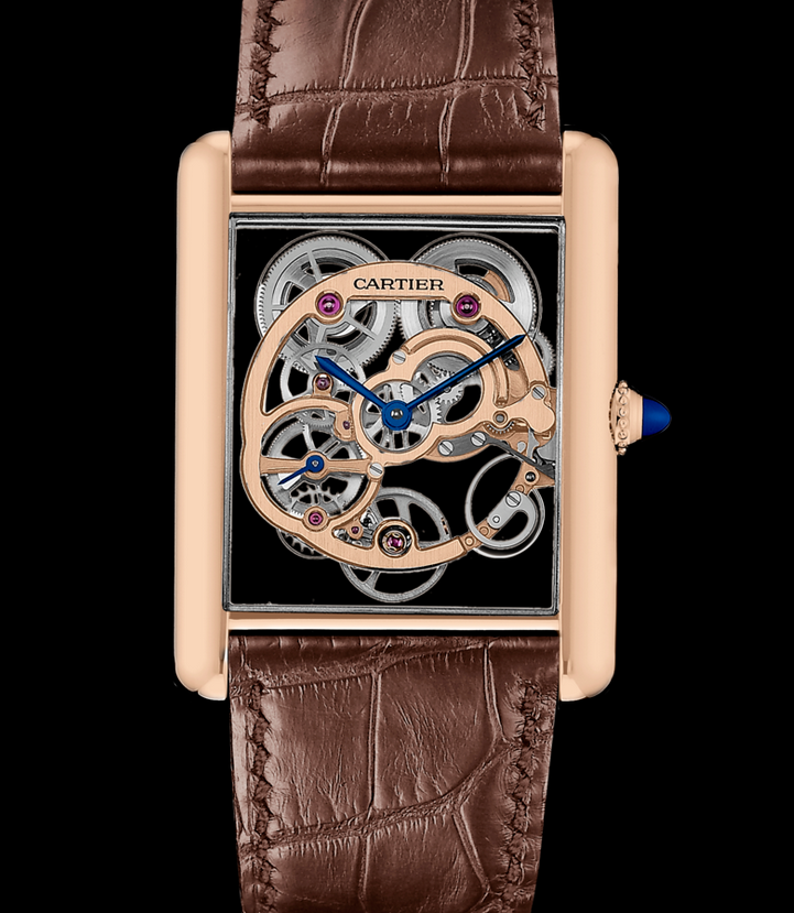 Creative Tank Louis Cartier Skeleton Sapphire Replica Watches UK With Pink Gold Cases