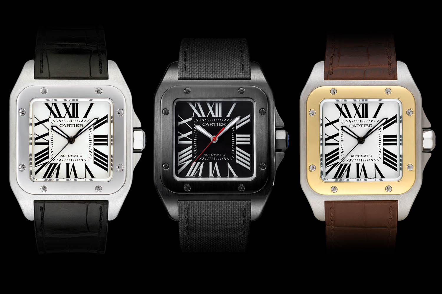 New Cartier Santos 100 Replica Watches with White,Black and Golden Dials For Men