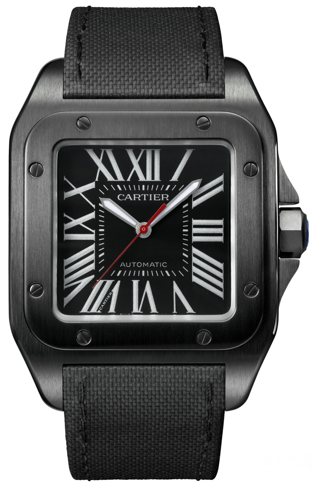 Cartier Santos 100 Carbon Replica Watches With Roman Numerals