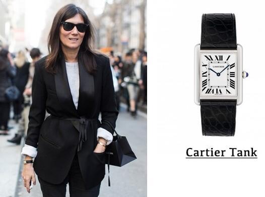 Decent Emmanuelle Alt is adorned by simple replication Cartier watch.