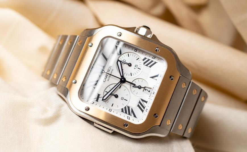 The male replica watches are made from stainless steel and 18k gold.