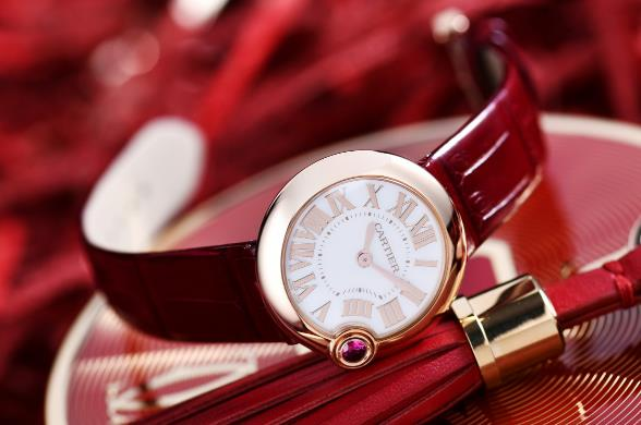 The red straps fake watches are designed for females.