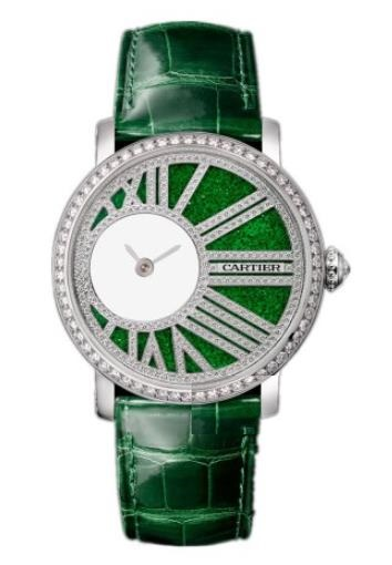 The 18k white gold fake watches have green straps.
