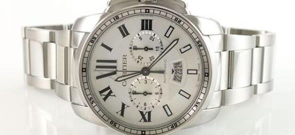 The stainless steel fake watch has a silvery dial.