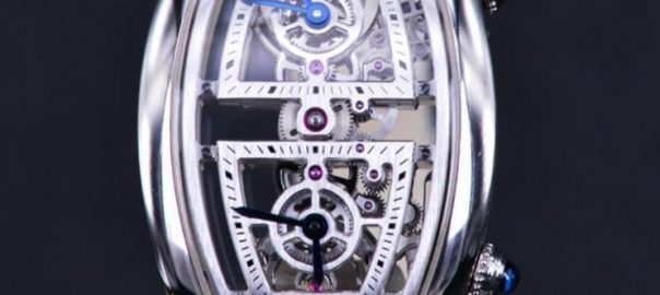 The platinum cases fake watches have hollowed dials.