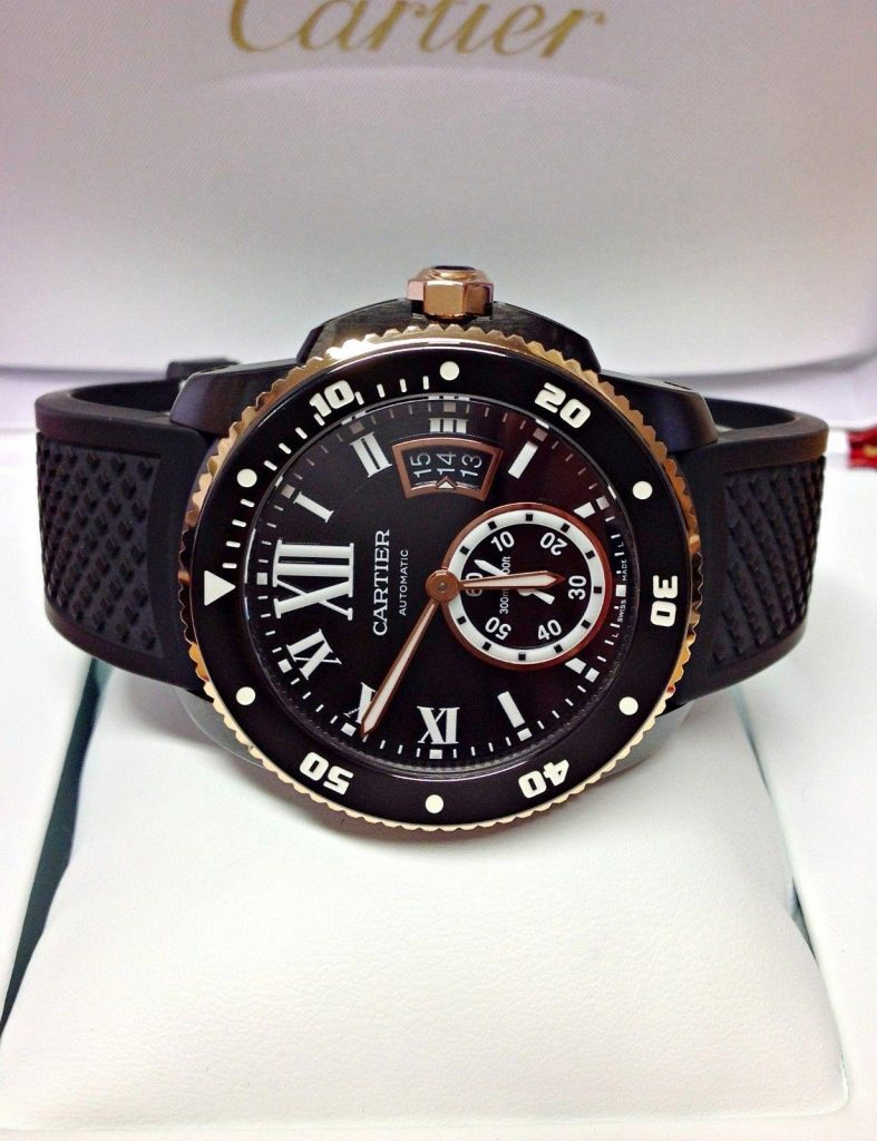 The 42 mm replica watch has black strap.