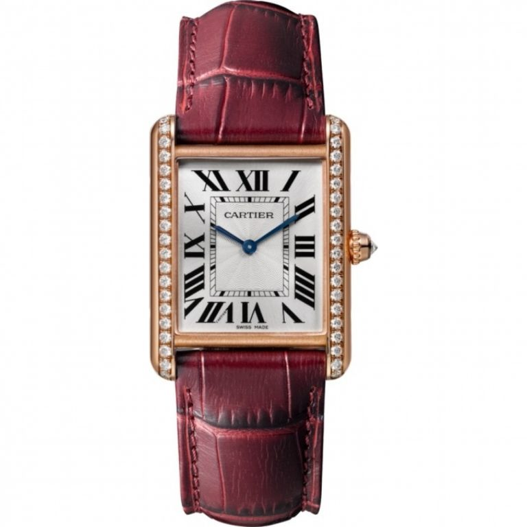 The 18k rose gold fake watch is decorated with diamonds.
