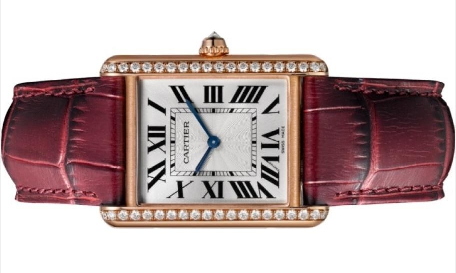 The red strap fake watch is made from 18k rose gold.