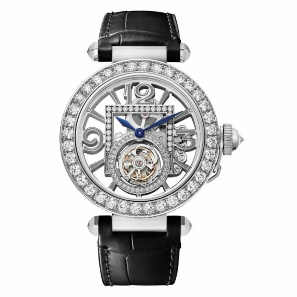 The 18k white gold fake watch has a black strap.