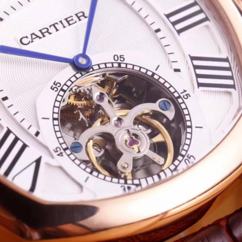 The silvery dial fake watch has a tourbillon.
