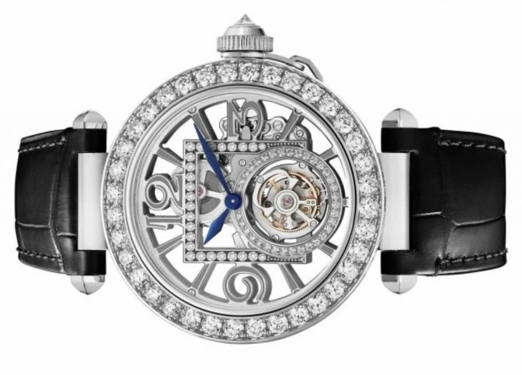 The hollowed dial fake watch is decorated with diamonds.