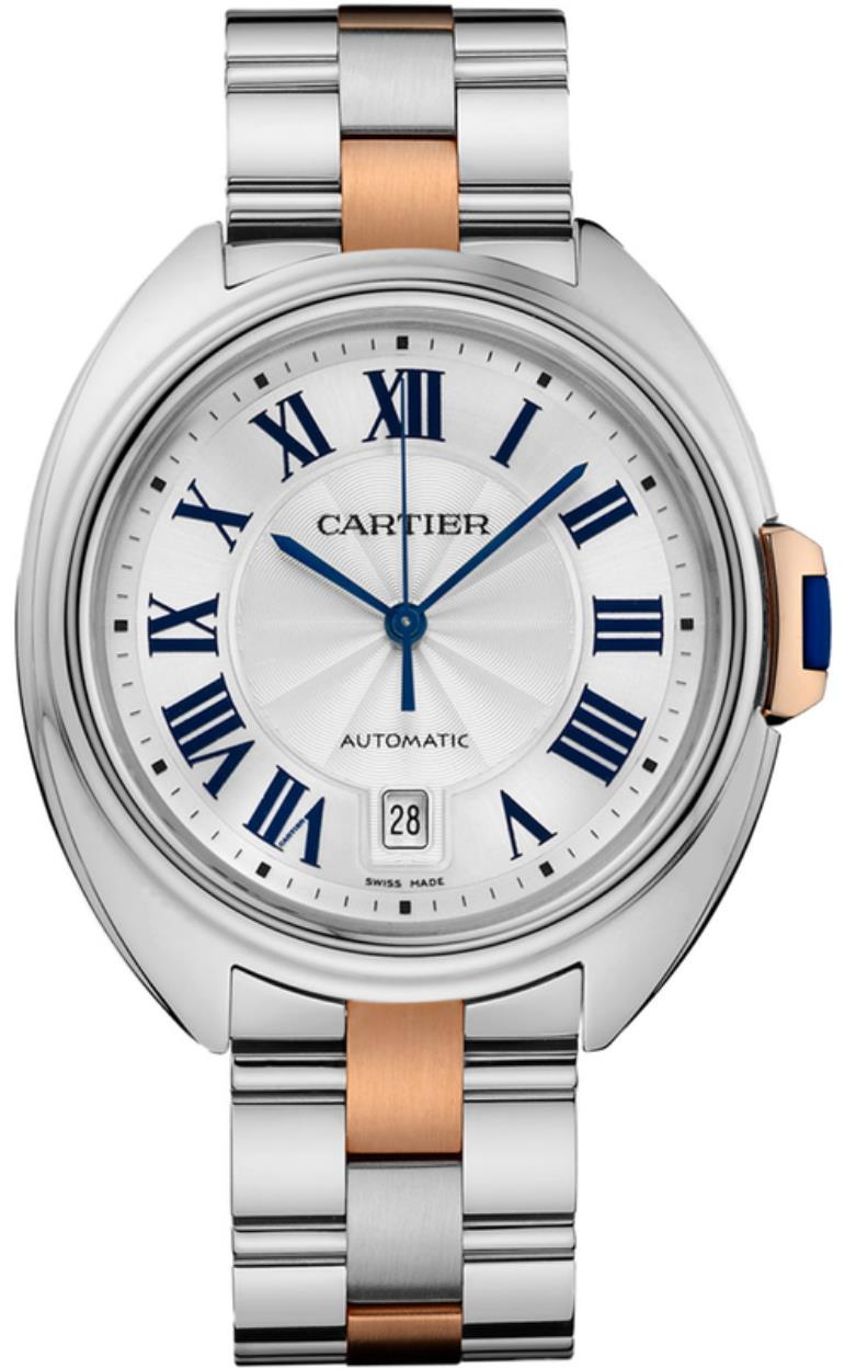 The silvery dial fake watch has Roman numerals.