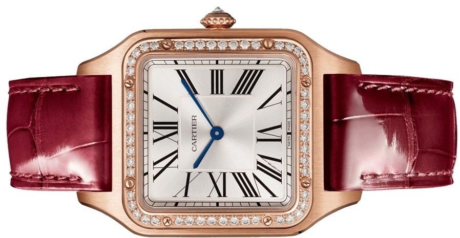 The 18k red gold copy watch has a red strap.