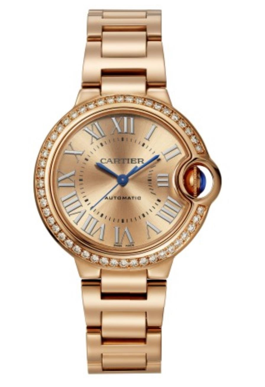 The rose gold fake watch has Roman numerals.